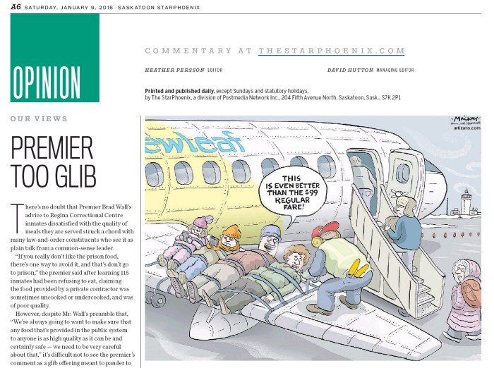 Published in the Saskatoon Star Phoenix, Saturday, January 9, 2016