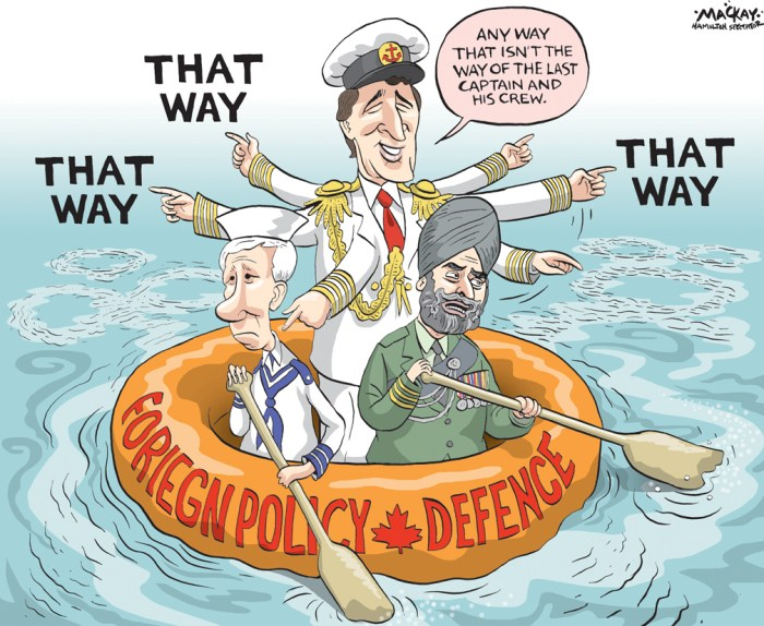 Editorial Cartoon by Graeme MacKay, The Hamilton Spectator Ð Tuesday January 19, 2016 TrudeauÕs silence on terrorism is deafening ItÕs early still in the life of this government. Yet with Prime Minister Justin TrudeauÕs Grits closing in on 100 days since their Oct. 19 electoral triumph, a pattern begins to emerge. ItÕs one that does the new regime and its leader little credit. It smacks of an inability or unwillingness to perceive sentiment beyond the urban Liberal echo chamber. It bespeaks a lack of imagination Ñ including an inability to imagine threats to the governmentÕs capacity to endure and succeed long-term. Tunnel vision and obduracy are not supposed to set in quite so soon. LetÕs begin with this: TrudeauÕs Achilles heel. Every politician seems to have one. For this PM, for the longest time, it was his tendency to blurt silly things about serious geopolitical issues at inopportune times. There was his tone-deaf statement in an interview with the CBC that the Boston Marathon bombers must have felt excluded; his offhand praise of ChinaÕs system of government; his curious joke about the Russians invading Ukraine over hockey. Most memorably, there was the juvenile quip about former prime minister Stephen Harper whipping out CanadaÕs CF-18s to Òshow them how big they are.Ó That series of gaffes, combined with TrudeauÕs decision in the fall of 2014 to vote against Canadian participation in the U.S.-led air war against the Islamic State in Iraq and the Levant, was a factor in the collapse in public support that led to the Liberals entering last yearÕs election campaign an underdog. That they recovered and won resoundingly is a testament to TrudeauÕs political skills and the quality of the campaign he ran. None of that mitigates that his perceived instincts and judgment about foreign policy Ñ especially as concerns the war against Islamist, jihadist terrorism Ñ are his greatest weakness. Tonally this manifests as an inability, or unwillingness, to emit more th