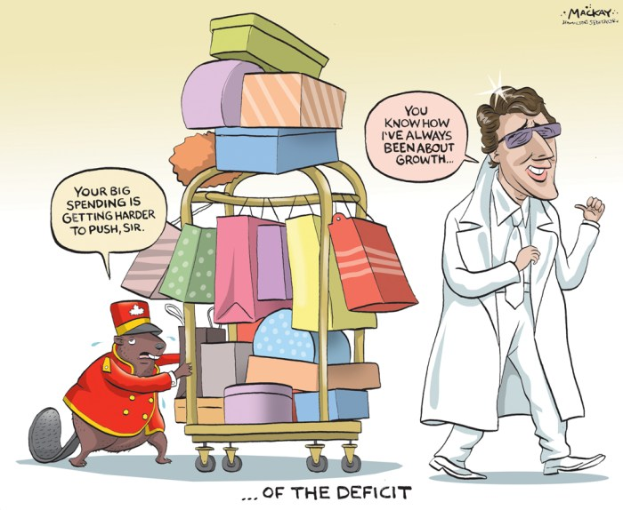 "Editorial Cartoon by Graeme MacKay, The Hamilton Spectator - Friday February 12, 2016 Trudeau shies away from Liberals' balanced-budget vow, cites fading economy Prime Minister Justin Trudeau is backing away from a campaign vow to balance the public books before the end of his government's four-year mandate Ñ a promise that was central to the Liberal election platform. As a result of a weakening economy, the government's upcoming 2016-17 budget plan will show a deficit larger than the Liberals' promised $10-billion shortfall cap, Trudeau told Montreal's La Presse newspaper. Just how big that deficit will be remains unclear. If the economy continues to deteriorate, it will be difficult for the Liberals to live up to their pledge to balance the books in 2019-20, Trudeau said in an interview published Thursday. Less than two months ago, Trudeau insisted that the Liberal plan to make good on that key balanced-budget promise was ""very"" cast in stone. The doubts raised by Trudeau offer a glimpse of the fiscal pressure faced by the Finance Department as it crafts the government's first federal budget, expected late next month. ""If we look at the growth projections for the next three or four years, it will be difficult (to return to balance),"" Trudeau was quoted by La Presse as saying. ""But everything we're doing is aimed at creating economic growth. When predicting the level of growth four years in advance, governments often miss the target."" During the fall election campaign, Trudeau promised to keep deficits below the $10-billion mark in 2016-17 and 2017-18 unless the economic situation got radically worse. ""Yes, we will go over $10 billion,"" Trudeau told La Presse. ""By how much? We are in the process of examining that."" In recent months, the Canadian economy has sputtered in large part due to the steep drop in commodity prices. On Wednesday, a National Bank of Canada report said the country's fading economic prospects could put the Liberal government on tra"