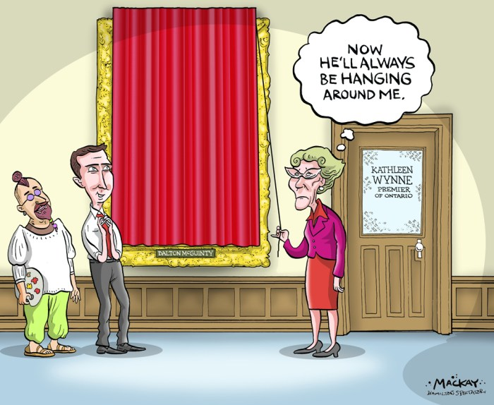 Editorial Cartoon by Graeme MacKay, The Hamilton Spectator Ð Tuesday February 23, 2016 Dalton McGuinty portrait set to be unveiled at QueenÕs Park Three years after leaving in tense times, Dalton McGuinty is coming back to QueenÕs Park. Permanently. His official portrait will be unveiled Tuesday and hung outside Premier Kathleen WynneÕs office in a hallway thatÕs home to two other paintings by the same artist, Istvan Nyikos, who painted former Progressive Conservative premiers Bill Davis and Mike Harris. McGuinty is his first Liberal premier but Nyikos, who left Hungary as a refugee in 1967 and studied at what is now the Ontario College of Art and Design, says he wouldnÕt touch politics with a 10-foot paint brush. ÒItÕs none of my business. As a taxpayer, maybe, but not as an artist,Ó he quips from his Collingwood studio. In fact, Nyikos Ñ who has also painted four speakers of the legislature, six chief court justices and former governor general Ray Hnatyshyn, to name just a few Ñ prefers not to know his subjects too well. ÒI take the face value, literally, of what the people give me . . . a superficial knowledge is good enough.Ó Nyikos adds, tellingly: ÒI canÕt paint my wife or my family. IÕm too close to them. I love them. I know them too well.Ó He has several sittings with each subject, sketching or painting the face and taking photographs of hands and other details. He works from those over the course of six to eight weeks, often painting several portraits concurrently. Nyikos says his clients, who may well have ruffled feathers in their professional lives, are unfailingly polite as they make small talk. ÒI try to paint them at their best.Ó Coincidentally, the unveiling takes place the night before the second court date of McGuintyÕs two former top aides, chief of staff David Livingston and deputy chief Laura Miller. They face criminal charges of breach of trust, mischief in relation to data and misuse of a computer system following a lengthy Ontari