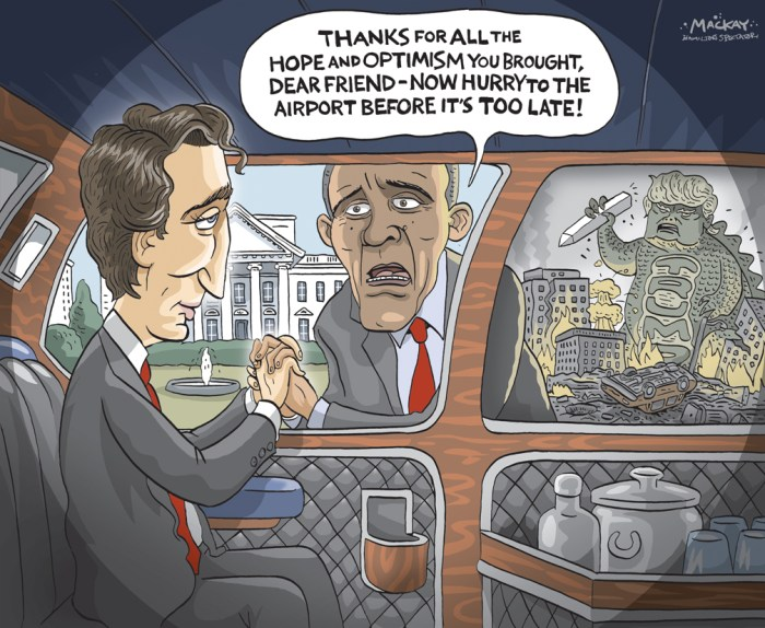"Editorial Cartoon by Graeme MacKay, The Hamilton Spectator Ð Friday March 11, 2016 Justin Trudeau, 'the anti-Trump' Justin Trudeau and his entourage arrived in Washington to the warm applause of the American media. Vanity Fair, Vogue, The New York Times Magazine, The Washington Post and others have cloaked him in the rapture of an international celebrity. This is unusual -- even unprecedented -- for a prime minister of Canada, the northern neighbor that Americans know as friendly, reliable, cold and dull. But no prime minister has looked and sounded like this one in a generation -- certainly not since his father, Pierre Elliott Trudeau, ran the country. When President Barack Obama hosts him at a state dinner Thursday at the White House -- the first for a Canadian leader since 1998 -- it will be a prime opportunity for Justin Trudeau to show the new face of Canada, the second most diverse country in the world, as progressive, moderate and tolerant. In a sense, everything that the United States is not in this election season. It's a theme Trudeau has embraced since the surprising election of his Liberal Party on October 19, ending almost 10 years of the divisive government of Conservative Stephen Harper. More striking, Trudeau's image contrasts with the stern face that the United States has shown the world in its winter of Donald Trump, Bernie Sanders and Hillary Clinton -- old, gray, loud and scowling. What is interesting about Trudeau -- who has been called ""the anti-Trump"" -- is how he, his politics, and his country are diverging dramatically from the United States. It helps explain the fascination in Trudeau beyond his looks (6 feet 2 inches), his youth (44), his elegant wife and his patrician pedigree. In fact, amid the demagoguery and vulgarity of the presidential race, Trudeau personifies something entirely different: youth, idealism, warmth and hope. It is not accidental that his delegation to Washington includes two senior women ministers, underscori"