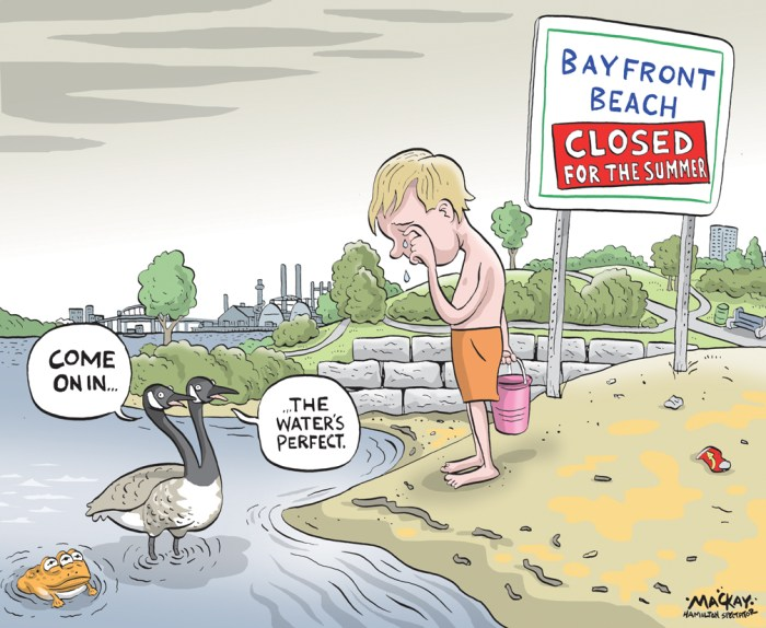 Editorial Cartoon by Graeme MacKay, The Hamilton Spectator Ð Monday March 28, 2016 Bayfront is not just a beach, but a symbol DonÕt swim in Hamilton Harbour. ThatÕs hardly new advice, nor has it been particularly shocking for the better part of a century. Hamilton has been as hard on its precious waterfront as any major metropolis in the developed world, perhaps more so. But recent news that the City of Hamilton has closed the small beach this year at Bayfront Park is still a cause for concern. A consultant will deliver a report on water quality there by the end of the summer, at which time council will decide what the long-term future holds for the ill-fated beach, and whether the closure should become permanent. The challenge is that poor water quality already forces the city and health officials to close the beach more days than not each summer. Turns out itÕs closed 78 per cent of days during summer. The water can make people sick. Farm run-off is often a problem for water quality at beaches across Ontario, as is municipal waste following big storms. BayfrontÕs beach is additionally burdened by its human-made geography, which traps water in the tiny bay that protects the beach, as well as by excrement from geese and gulls. High E. coli counts and toxic algae have plagued the area in recent years. The consultants will look at ways to improve water quality, but the report may well recommend Òanother feature that is sustainableÓ for the site. In other words: no beach, no swimming. Council should weigh the latter option carefully. Whatever the challenges, it is far too early to give up on this gem in downtown Hamilton. ItÕs not merely a nostalgic notion. To be sure, swimming is hardly a big part of this unique leisure and recreation area, but it is symbolic of a healthy environment and a city that cares about itself. A clean beach is a tourist attraction and landmark for which we can all be proud. A polluted beach is a reminder of the mistakes we have m