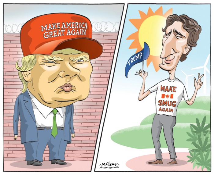 Editorial Cartoon by Graeme MacKay, The Hamilton Spectator - Tuesday, March 29, 2016 Canadians, Donald Trump's candidacy is no reason to panic Since the 1990s, the U.S. political roller coaster has often confounded Canadians. Many scoffed when the largest country in the world seemed to be paralyzed for months by the oldest scandal in the world Ñ a married man, Bill Clinton, making time with a younger woman, Monica Lewinsky, who wasnÕt his wife. Many were dismayed when the eminently prime-ministerial Al Gore lost to the easily mockable George W. Bush in 2000 Ñ especially because Gore won more popular votes than Bush did. Still, nothing compares to the panic and horror Donald TrumpÕs candidacy has evoked. Canadian confusion about the American presidential campaign circus makes sense: most Americans are equally disturbed. This campaign has been one of the most surprising and upsetting clashes in decades, and it has only just begun. Remember the too-long Canadian campaign of 78 days? U.S. Election Day, Nov. 8, is still eight months away. The United States appears hopelessly divided, with the Republican surprise and the Democratic surprise suggesting the country is being pulled in opposite directions. Bernie Sanders may be the American Canadians most love to love: down-to-earth, earnest, substantive, unstylish, collectivist and socialist in a cuddly, non-Stalinist way. Meanwhile, Donald Trump is the type of American Canadians most love to hate: arrogant, flamboyant, egotistical, jingoistic and demagogic, playing personality politics. A president Donald Trump meeting Prime Minister Justin Trudeau would be even more awkward than Ronald Reagan meeting Pierre Trudeau. When they met in 1981, Reagan wore a suitably statesmanlike dark suit with a conservative striped tie, while Trudeau, looking more Floridian than Washingtonian, wore an open-necked shirt with a tan sports jacket, while sporting a dandyish red rose. (Continued: Montreal Gazette) http://montrealgazette.com/o