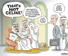 Editorial Cartoon by Graeme MacKay, The Hamilton Spectator - Thursday March 31, 2016 Cancelling Saudi arms deal would have no effect on human rights: Dion Foreign Affairs Minister StŽphane Dion is defending a controversial $15-billion arms deal with Saudi Arabia by saying cancelling it would be a futile gesture because another country would simply supply the combat vehicles to Riyadh instead. ÒIt would not have an effect on human rights in Saudi Arabia,Ó Mr. Dion predicted, if the Liberals were to scrap a 14-year lucrative contract to build fighting machines that will be equipped with machine guns or anti-tank weapons. International censure of Saudi Arabia is on the increase as rights groups decry an erosion of human rights under the current leadership there. Only two weeks ago, the Dutch parliament voted to stop arms shipments to Saudi Arabia, and in February, the European Parliament passed a motion calling for the suspension of weapons sales to Riyadh. Mr. Dion used a Monday speech on the LiberalsÕ foreign policy to mount a hard-nosed defence of what is CanadaÕs largest-ever manufacturing contract Ð a transaction that was brokered by Ottawa under the former Conservative government and will benefit defence contractor General DynamicsÕ London, Ont., plant until 2028. ÒRiyadh does not care if the equipment comes from a factory in Lima, Ohio or Sterling Heights, Mich., rather than one in London, Ont.,Ó Mr. Dion said, naming American cities where military suppliers such as General Dynamics have a presence. More than 2,000 workers in Canada would lose their jobs if the government cancelled the deal, the minister predicted. Louise Arbour, a former United Nations High Commissioner for Human Rights who once sat on the Supreme Court of Canada, was in the audience for Mr. DionÕs speech, and she said the contention that some other country would just take over the contract is Òthe weakest argumentÓ that could be made. ÒThis argument that if we donÕt do it somebody els