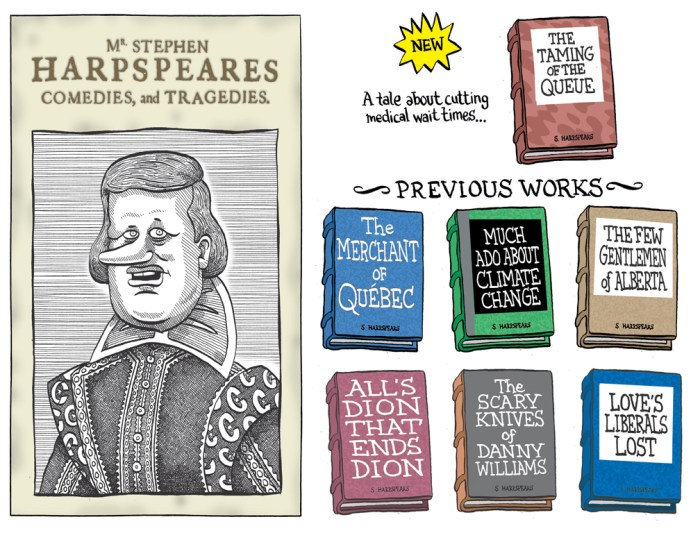 "Editorial Cartoon by Graeme MacKay, Editorial Cartoonist, The Hamilton Spectator - Saturday, April 7, 2007 The Taming of the Queue Prime Minister Stephen Harper says he has fulfilled his pledge to establish medical wait-times guarantees across Canada, but critics say the deal falls short of his campaign promise. ""Today I am very pleased to announce that Minister Clement has succeeded in his mission,"" Harper said at an Ottawa wait-times conference. ""All 13 provinces and territories have now committed to providing the first patient wait-times guarantees."" The creation of a wait-times guarantee was one of the Conservatives' five priorities in the last election campaign. But the deal does not come into effect until 2010, and provinces only have to promise timely treatment in one of several priority areas: Cancer care, Hip and knee replacement, Cardiac care, Diagnostic imaging and Cataract surgeries. The Conservatives had promised in the last federal election campaign that they would ensure guarantees in all of the above areas. In the federal budget released on March 19, $612 million was set aside for the provinces and Ottawa to pay for the initiative and $30 million was set aside for wait-times pilot projects. (Source: CTV News) http://www.ctvnews.ca/critics-say-wait-times-deal-falls-short-of-promise-1.235960 editorial cartoon, 2007, Stephen Harper, Canada, William Shakespeare, Merchant of Venice, Taming of the Shrew, Much Ado about Nothing, Climate Change, Quebec, Stephane Dion, Danny Williams, literature, parody"