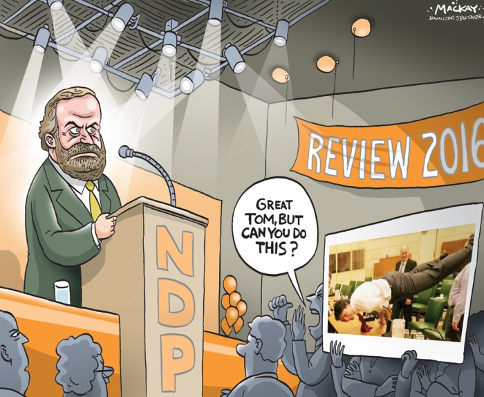 """Editorial Cartoon by Graeme MacKay, The Hamilton Spectator Ð Saturday, April 9, 2016 Mulcair and the NDP head into couples therapy at convention Whatever the outcome of this weekend's vote on Tom Mulcair's leadership, it's already apparent that the NDP is a party deeply divided Ñ not just over whether he deserves to stay in the job, but over where the party needs to go. One can't be separated from the other. Mulcair, as we already know, led the New Democrats to a devastating result in the 2015 election. The party lost votes, over half its seats and its status as the Official Opposition in the House of Commons. Worse still, the Liberals vaulted over the NDP in large part because Justin Trudeau out-performed Mulcair during the campaign. But there's a growing sense inside the party that the Liberals really usurped the NDP as the party of choice among progressive voters, with the most obvious example being Trudeau's willingness to run deficits to invest in infrastructure, indigenous communities and health care. Heading into the weekend, the list of those who want a change at the top includes the party's youth wing, its socialist caucus and the president of the Canadian Labour Congress. In a letter released this week, the youth wing urged NDP members to support """"a new direction and new style of leadership."""" It complains that young New Democrats were forced in the last campaign to argue against legalization of marijuana, against Mulcair's participation in a debate on women's issues and, well, on a host of other issues that ran counter to what young people believe. (Continued: CBC) http://www.cbc.ca/news/politics/mulcair-chris-hall-leadership-ndp-1.3525911 Canada, politics, leadership, NDP, new democrats, Thomas, Tom, Mulcair, convention, Justin Trudeau, sex, appeal"""