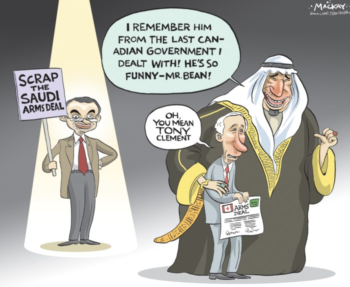 Editorial Cartoon by Graeme MacKay, The Hamilton Spectator Ð Thursday, April 14, 2016 Scrap the Saudi arms deal, says Clement Foreign Affairs Minister StŽphane Dion says he is prepared to cancel the export permits for a controversial arms sale to Saudi Arabia if there is any evidence the armored vehicles made in Canada are used in human rights violations. ÒAs with all export permits, the minister of foreign affairs retains the power to revoke at any time the permit should the assessment change,Ó said Dion, pointing out that there is no indication that Canadian-made armored vehicles sold to Saudi Arabia in the past have been used to violate human rights. ÒShould I become aware of credible information of violations related to this equipment, I will suspend or revoke the permits. We are watching this closely and will continue to do so.Ó Speaking to reporters on his way into Question Period where the government came under fire for the deal, Dion defended the $15 billion sale, saying CanadaÕs credibility would be harmed if it didnÕt honor the contract negotiated in 2014. DionÕs comments come following the revelation by the Globe and Mail that while the Conservative government initially endorsed the deal to sell $15 billion worth of armored vehicles to Saudi Arabia Ð one of the biggest arms sales in Canadian history Ð it was Dion who signed the expert permits on Friday, a crucial step in the sale that many had thought had already taken place. When they came to power, TrudeauÕs Liberals indicated the sale was a done deal and their hands were tied. Without the export permits, however, the sale would have been stalled. Global Affairs Department documents stamped secret and released by the Justice Department this week in response to a court challenge to the sale, indica