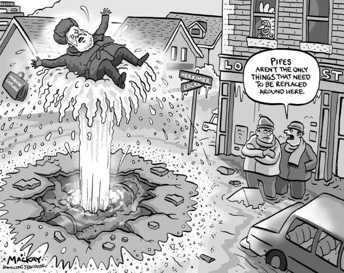 Editorial Cartoon by Graeme MacKay, The Hamilton Spectator Ð Thursday January 23, 2003 The Great Flood of 2003 The old pipe couldn't take the pressure anymore and blew just before 5 a.m. For 76 years, it had ferried water from the city's main trunk line up Locke Street to fill the Beaumont Reservoir, which in turn quenches west Hamilton's thirst. But yesterday, after days of bitter cold, frost worked its way under the 30-inch cast iron pipe, right where one section connects the next under the intersection of Herkimer and Locke streets. The frost pushed the ground up until the big feeder pipe shattered like a poorly fired clay vase, blowing out a one-metre-square piece of metal. It released a geyser of water so powerful it blasted straight up through concrete roadbed and asphalt and spewed three metres into the air. Within minutes, it sped down streets into more than 100 homes and businesses, completely flooding some basements and reducing water pressure across large parts of west Hamilton. (Source: Hamilton Spectator) Hamilton, Locke Street, Marvin Caplan, water, infrastructure, flood, pipe, politics
