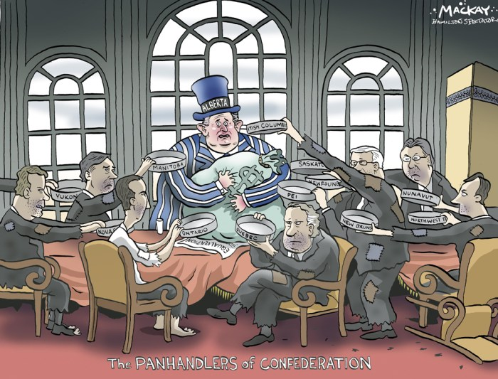 "Editorial Cartoon by Graeme MacKay, The Hamilton Spectator - Friday May 26, 2006 Klein threatens to abandon equalization Alberta would pull out of the federal equalization program rather than see the other provinces benefit from its oil and natural gas resources, Premier Ralph Klein said. Klein said on Wednesday he's ready to fight with the eastern provinces to keep Alberta's resource revenues out of the equalization program, which sends federal money to poorer provinces so they can provide services such as health care. At a meeting next month, other premiers are expected to suggest that Alberta's oil revenues can be included in the calculations that determine how much cash each province gets from Ottawa. ""This is political showdown,"" Klein said. ""This is also a constitutional issue. Alberta has control and authorization and authority over its resources."" And he said he's willing to walk away from the program altogether. But University of Alberta political scientist Steve Patten suggests Klein can't really do that, and his bluster won't go far among the premiers, even if it works to whip up long-standing anti-eastern sentiment among Albertans. Equalization payments come from federal government revenues, such as federal income tax, not from Alberta's bank accounts, Patten said. Pulling out, he said, would have no effect on the program.Ê(Source: CBC News)Êhttp://www.cbc.ca/news/canada/klein-threatens-to-abandon-equalization-1.591424 Canada, Alberta, Ralph Klein, Equalization, federalism, Confederation, panhandlers, finance, transfer, payments"