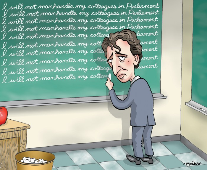 Editorial Cartoon by Graeme MacKay, Thursday May 19, 2016 Justin Trudeau ÔmanhandledÕ MP in Commons uproar, opposition says Parliament turned downright ugly when an impatient Prime Minister Justin Trudeau crossed the aisle to drag an opposition MP forward so a vote could take place, knocking aside a female NDP MP who was so shaken she had to leave the chamber.Ê The encounter Wednesday led to a shouting match between Trudeau and NDP Leader Tom Mulcair after Trudeau briefly crossed the floor a second time appearing to look for someone. Mulcair can be heard on Commons video footage yelling at Trudeau: ÒWhat kind of man elbows a woman? YouÕre pathetic.ÓÊ The confrontation took place late in the day prior to a vote on a government bid to limit debate on its assisted suicide bill, with the opposition already furious at another Liberal move to seize control over the parliamentary agenda.Ê The mood was tense as each side traded insults. By the end of the day, tempers before the vote were running high. As Trudeau crossed the floor, he was allegedly overheard by NDP MPs to say ÒGet the f--- out of my way.ÓÊ The opposition erupted in outrage as the Speaker called for order, and ordered MPs to stop taking photos. At the far end of the Commons, former prime minister Stephen Harper stood watching it unfold. New Democrat House leader Peter Julian rose to accuse Trudeau of ÒmanhandlingÓ the Conservative whip, Gord Brown, and physically pushing aside the NDPÕs whip, Ruth-Ellen Brosseau. ÒI have been in the House now for 12 years and I have never seen what just transpired in the House of Commons,Ó he said. Trudeau stood to offer an apology, saying he thought Brown, the official Opposition whip Ñ who ensures Opposition MPs are in place for a vote Ñ was Òimpeded,Ó causing the vote to be delayed. ÒI felt that this lacked in respect for Parliament,Ó he said,Êadding he Òoffered my arm, extended, to help him come through the gaggle of MPs standing there.Ó (Source: Toronto Star) ht