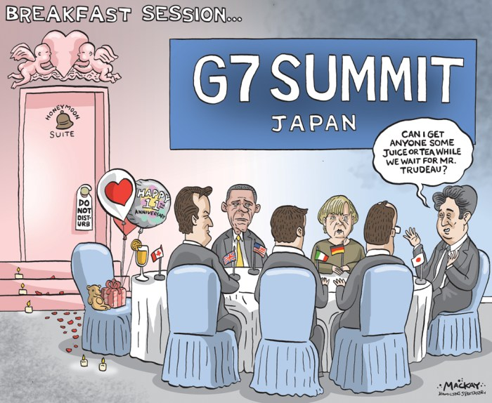 "Editorial Cartoon by Graeme MacKay, The Hamilton Spectator Ð Wednesday May 25, 2016 Trudeau to take day off during Japan trip to celebrate weddingÊanniversary Justin Trudeau's trip to Japan for bilateral talks and the Group of Seven summit will be about more than just business. The prime minister isn't planning to hold any meetings or events Wednesday, so he can celebrate his 11th wedding anniversary with his wife Sophie GrŽgoire Trudeau. The couple will spend the night at a traditional Japanese inn Ñ or ryokan Ñ before Trudeau heads to the G7 summit on Thursday in the country's Ise-Shima region. ""The fact of the matter is we've been working extremely hard today and will be at the G7 meetings on Thursday and Friday, and in the middle of all this, I'm taking a moment to celebrate Ñ on personal funds Ñ my wedding anniversary with myÊwife,"" Trudeau said of the down time when asked during a news conference whether it would cost taxpayers anything, including the potential financial burden of idle staffers. ""This is the kind of work-life balance that I've often talked about as being essential in order to be able to be in service of the country with all one's very best and that's certainly something I'm going to continue to make sure we do."" GrŽgoire Trudeau accompanied the prime minister Tuesday in Tokyo during visits to the Meiji Shrine and with the Japanese emperor and empress at the Imperial Palace. She also joined him Tuesday evening for dinner with Prime Minister Shinzo Abe. Trudeau held working meetings earlier in the day with Abe andÊexecutives from the Japanese auto sector. (Source: CBC News)Êhttp://www.cbc.ca/news/politics/trudeau-japan-sophie-gregoire-wedding-anniversary-1.3597363 Canada, summit, G7, Justin Trudeau, Japan, David Cameron, Angela Merkel, Barack Obama, Honeymoon"