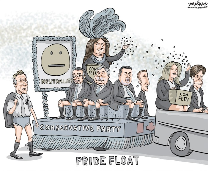 "Editorial Cartoon by Graeme MacKay, The Hamilton Spectator Ð Tuesday May 31, 2016 'Freedom and respect': Conservatives strike marriage definition from party policy Conservative delegates at the party's policy convention in Vancouver have voted to strike the definition of marriage in the party's official policy document. In a 1,036-462 vote, delegates from all provinces except Saskatchewan cast majority votes in favour of no longer defining marriage as a union between one man and one woman. ""I think our party got a little more Canadian today,"" Calgary MP Michelle Rempel said after the vote. ""It's a milestone and it's not just a milestone for our party, it's a milestone for all Canadians.Ó ""Yes, it took us 10 years to get to this point, but I think this is something that is a beacon for people around the world who are looking at equality rights. Canada is a place where we celebrate equality.Ó The result followed a heated debate and prompted some high-fives and cheers across the hall. It shifts the party's official position on same-sex marriage from being against the unions to neutral. Eric Lorenzen, from an Eastern Ontario riding, said during the debate that as a gay Conservative, he found it troubling that his party told him his relationship with his partner was not valued. ""What other group does our party have a negative policy towards? A policy of restricting civil rights and restricting full participation in society?"" he said, drawing applause. The result followed a heated debate and prompted some high-fives and cheers across the hall. It shifts the party's official position on same-sex marriage from being against the unions to neutral. Eric Lorenzen, from an Eastern Ontario riding, said during the debate that as a gay Conservative, he found it troubling that his party told him his relationship with his partner was not valued. ""What other group does our party have a negative policy towards? A policy of restricting civil rights and restricting full parti"