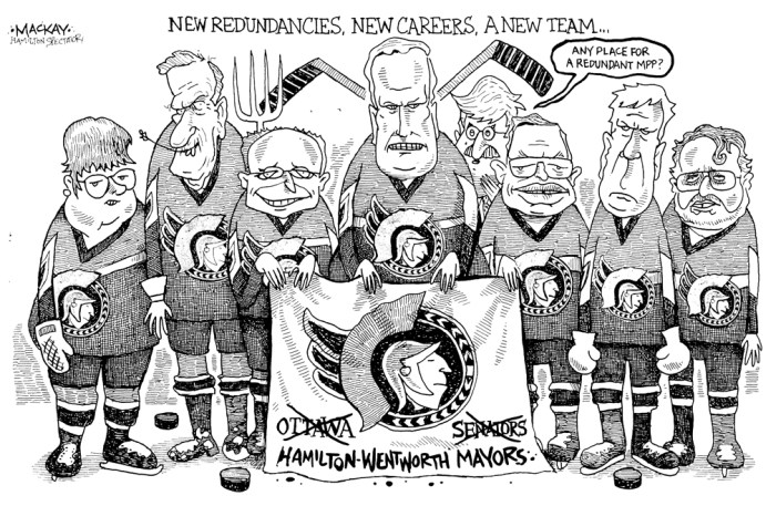 Editorial Cartoon by Graeme MacKay, The Hamilton Spectator Ð Saturday December 4, 1999 Ann Bain, Glen Etherington, Terry Cooke, Bob Morrow, Toni Skarica, Bob Wade, John Addison, Ted McMeekin, Flamborough, Flamboro, Mayor, Hamilton, amalgamation, hockey
