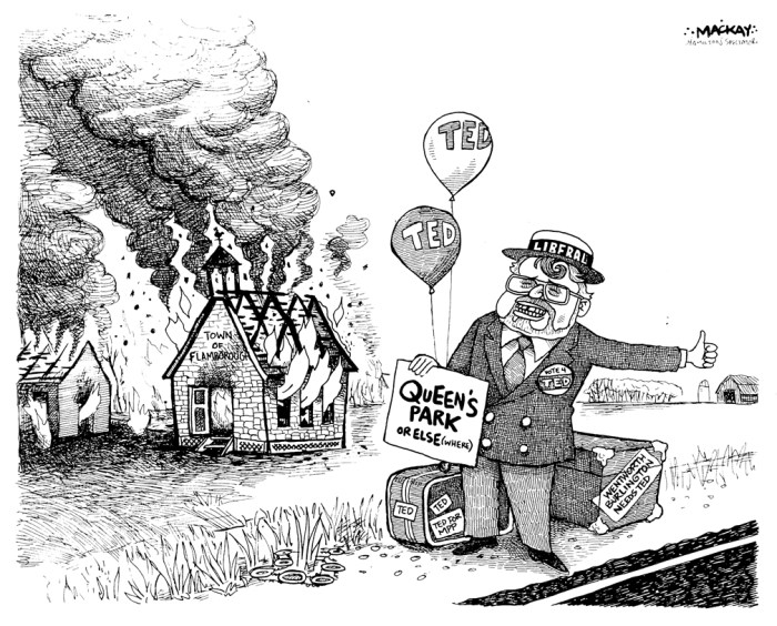 Editorial Cartoon by Graeme MacKay, The Hamilton Spectator Ð Tuesday May 2, 2000 Ted McMeekin hitchhikes to Queen's Park as Flamborough burns Ted McMeekin, Flamborough, Flamboro, Mayor, Hamilton, amalgamation, byelection, Liberal, Queen's Park, hitchhiking