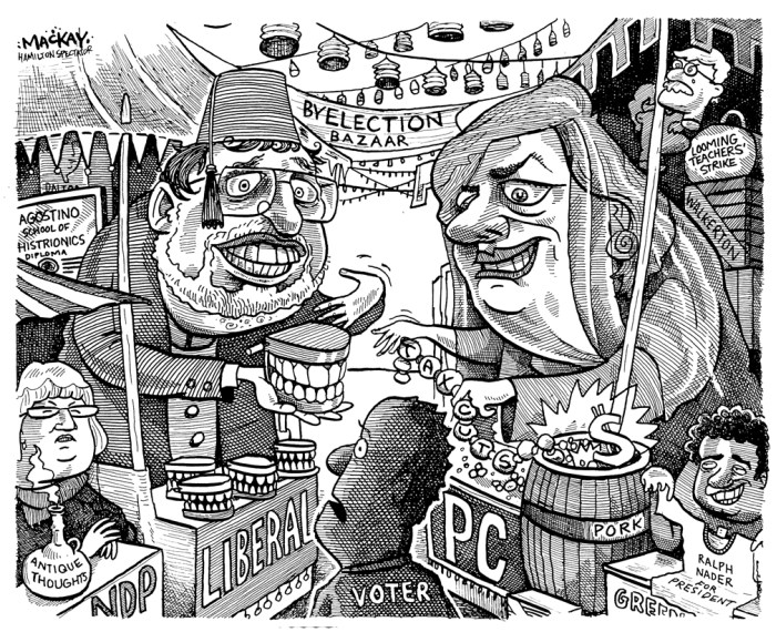Editorial Cartoon by Graeme MacKay, The Hamilton Spectator Ð Saturday September 2, 2000 AncasterÑDundasÑFlamboroughÑAldershot Byelection Bazaar Ted McMeekin, Flamborough, Flamboro, Mayor, Hamilton, amalgamation, byelection, bazaar, Mark Coakley, priscilla de villiers, Toni Skarica, Dominic Agostino, Ontario, AncasterÑDundasÑFlamboroughÑAldershot