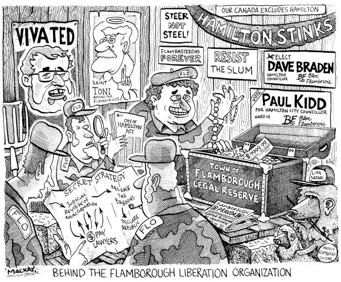 Editorial Cartoon by Graeme MacKay, The Hamilton Spectator Ð Thursday October 26, 2000 Behind the Flamborough Liberation Organization (FLO) Ted McMeekin, Flamborough, Flamboro, MPP, Hamilton, amalgamation, Liberal, AncasterÑDundasÑFlamboroughÑAldershot, Toni Skarica, African Lion Safari, Paul Kidd, Dave Braden, Mark Coakley