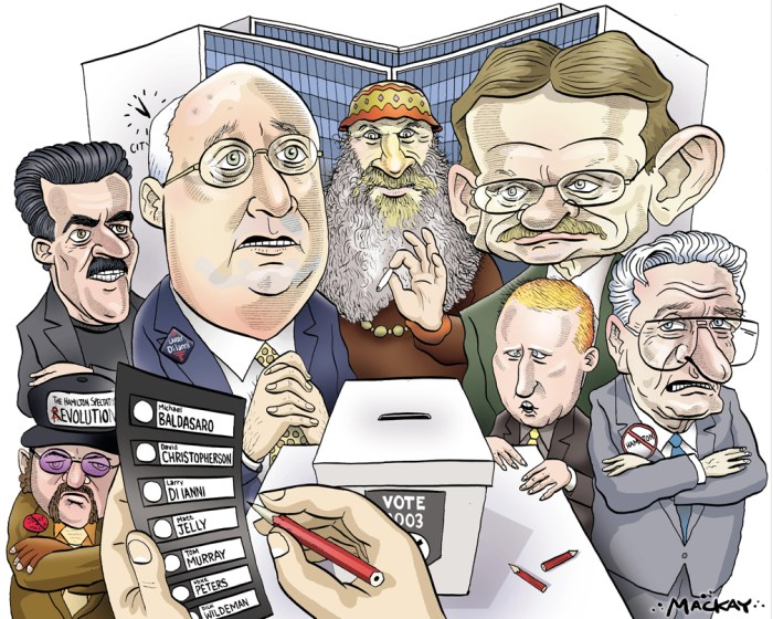 Editorial Cartoon by Graeme MacKay, The Hamilton Spectator Ð Saturday November 8, 2003 The deciding battle in the campaign for mayor will likely be fought by ground troops on Hamilton Mountain Monday.Observers say voters in the heavily populated Mountain wards 6, 7 and 8 appear to hold the key to whether David Christopherson or Larry Di Ianni wins. The deciding factor may who can best mobilize volunteers to get the most Mountain supporters out to vote. Christopherson is expected to win most of the lower city. The race appears close in the suburbs, where Di Ianni had hoped for a big lead. That leaves the Mountain as the pivotal point. Di Ianni campaign manager Larry Russell pointed out yesterday that Mountain wards 7 and 8 have more votes than Ancaster, Flamborough and Waterdown combined, so they're bound to be a big factor, especially with hot contests for council likely to boost turnout. (Source: Hamilton Spectator) Hamilton, Michael Baldasaro, marijuana, pot, Matt Jelly, David Christopherson, Larry di Ianni, Tom Murray, Mike Peters, Dick Wildeman, City Hall, mayoral, race, 2003, vote