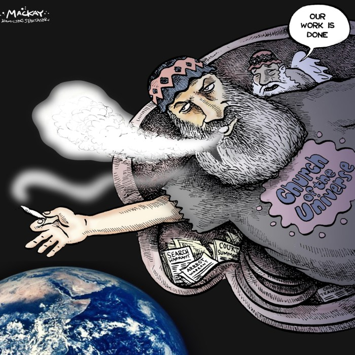 """Editorial Cartoon by Graeme MacKay, The Hamilton Spectator Ð Thursday June 9, 2016 Michael Baldasaro, HamiltonÕs high priest of pot, dead at 67 Michael Baldasaro, a longtime marijuana activist and perennial candidate for office, has died in a Hamilton hospice after a short battle with cancer. Baldasaro, a Church of the Universe minister, died early Thursday morning, church member Rev. Juliet Boyd told The Spectator. He was 67. """"It was very quick,"""" said Boyd, noting Baldasaro had died of prostate cancer that had spread throughout his body. He leaves behind an uncle, sisters in Ohio and his son, Aaron, who lives in Vancouver. """"And all the church members who adored him,"""" Boyd added. Baldasaro, who'd only been in hospice for about week, made it his mission to help those who were ignored by others, she said. """"He bothered with the people nobody else bothered with.Ó Mayor Fred Eisenberger said he was """"saddened"""" to hear about Baldasaro's death. """"Michael was true champion of Hamilton. His commitment to the City and his Church of Universe community was unwavering, but more importantly a genuinely nice man. I will miss his passion and good humour,"""" Eisenberger said an emailed statement. """"On behalf of the City of Hamilton, our thoughts and prayers are with his family, friends and colleagues. We are sorry for your loss.Ó Baldasaro, who ran for the Marijuana Party, sought office at three levels of government in Hamilton since 1984. In 2014, he ran for mayor. """"I'm the common guy,"""" Baldasaro told The Spectator. """"It's about time we had someone who knows reality.Ó He wanted to term limits for the mayoral office and pushed for lower city councillor salaries. """"I'll take half off the mayor's pay,"""" he promised. """"I'm encouraging all councillors to do the same thing.Ó Baldasaro also advocated for the well-being of drug users, sex workers and the homeless. """"They shouldn't be in jails. They need help. The police have better things to do than go after these people.Ó Church m"""