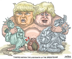 "Editorial Cartoon by Graeme MacKay, The Hamilton Spectator Ð Justin Trudeau's fight with the forces of Brexit and Donald Trump Tuesday June 28 2016 Six months ago, Justin Trudeau went to Davos, Switzerland to pitch the World Economic Forum on a vision of shared prosperity, proper leadership and embracing diversity. A day later, David Cameron appeared on stage and tried to explain why he was preparing to plunge Britain into a referendum over its membership in the European Union. ""Now, some people ask me, 'Well, why are you holding a referendum?'"" he acknowledged, after explaining that his aim was for Britain to remain within a ""reformed"" EU. ""I think it's absolutely essential to have full and proper democratic support for what Britain's place should be in Europe and that's why we're holding the referendum.Ó Oopsie. If Cameron is invited back to Davos next year, it will be as a former prime minister. He will no doubt be asked to reflect on how and why his deeply divided country decided to remove itself from the European experiment in common cause, possibly precipitating the breakup of the United Kingdom in the process. There is possibly a lesson here in how one should be careful and cautious when conducting national debates about foundational matters (like, say, electoral reform). But there are, as well, hints that what happened in Britain on Thursday night was driven by economic exclusion, political alienation and fears about immigration. Precisely the sorts of things Trudeau has seemed eager to be seen as standing against. ""Simply put, everybody needs to benefit from growth in order to sustain growth,"" he said in Switzerland. ""I believe in positive, ambitious leadership,"" Trudeau explained. ""We need to trust citizens. ""We need societies that recognize diversity as a source of strength,"" he added. ""Not a source of weakness.Ó His is the government of the ""middle class"" and ""real change"" and 25,000 Syrian refugees. Back in January, Trudeau's appeal to div"