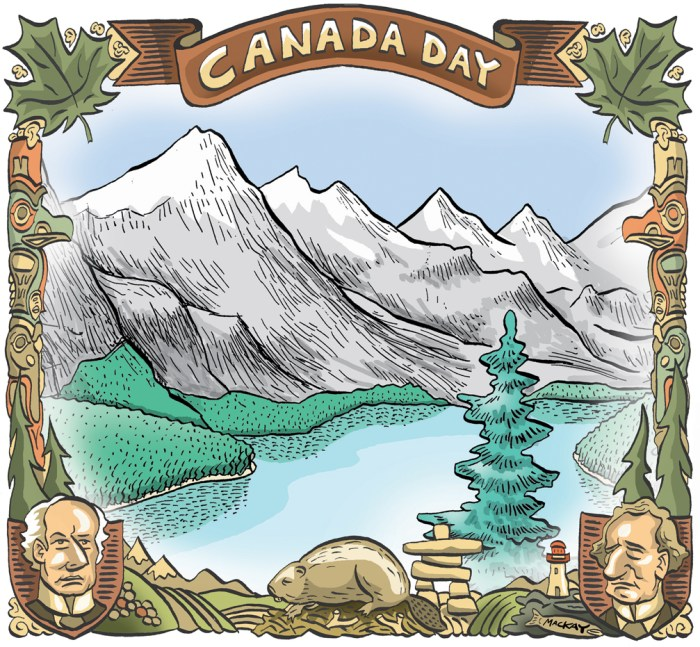 Editorial Cartoon by Graeme MacKay - Friday July 1, 2016 illustration, Canada, day, dominion, beaver, first nations, totem, Wilfrid, Laurier, Sir John, Macdonald, mountains, rockies, patiotism, Canadian
