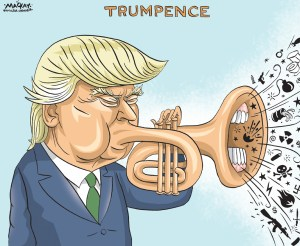 """Editorial Cartoon by Graeme MacKay, The Hamilton Spectator Ð Saturday July 18, 2016 White House candidate Trump announces Pence as his running mate Republican Donald Trump's choice of Indiana Governor Mike Pence as his vice presidential running mate on Friday helped bolster support among some conservatives skeptical about his policies, a crucial step as he prepares to accept the party's nomination next week. Some conservatives who had fought against Trump's ascendancy in the Republican nominating race welcomed his announcement that he had picked Pence, a well-known social and evangelical conservative. The Club for Growth, a conservative economic group, had sharply criticized Trump's support for protectionist trade policies. On Friday, the group noted that as a member of the House of Representatives, Pence had been a strong voice for """"free markets and economic liberty"""" at a time when the Republican leadership had been weak on these issues. """"TodayÕs news gives a similar hope that Mike Pence will be effective in pulling the Republican ticket toward economic conservatism and limited government,"""" the group said. Other conservatives were also heartened by Trump's VP pick, which the businessman announced in a tweet ahead of a joint appearance in his hometown of New York on Saturday. """"Pence is a principled conservative, man of faith, and talented messenger for Republican ideas,"""" said Senate Majority Leader Mitch McConnell. """"His addition to the ticket will bring even more excitement to the voters who are eager to put a Republican in the White House and deny a third term for President Obama's liberal agenda.Ó Trump, 70, chose Pence, 57, over two politicians he considers friends and close advisers, former House of Representatives Speaker Newt Gingrich, 73, and New Jersey Governor Chris Christie, 53. (Source: Reuters)Êhttp://www.reuters.com/article/us-usa-election-idUSKCN0ZV1HC USA, politics, United States, republican, GOP, Donald Trump, Mike Pence, trumpet, noise"""