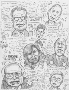 DNC2016  Mon. night live sketch