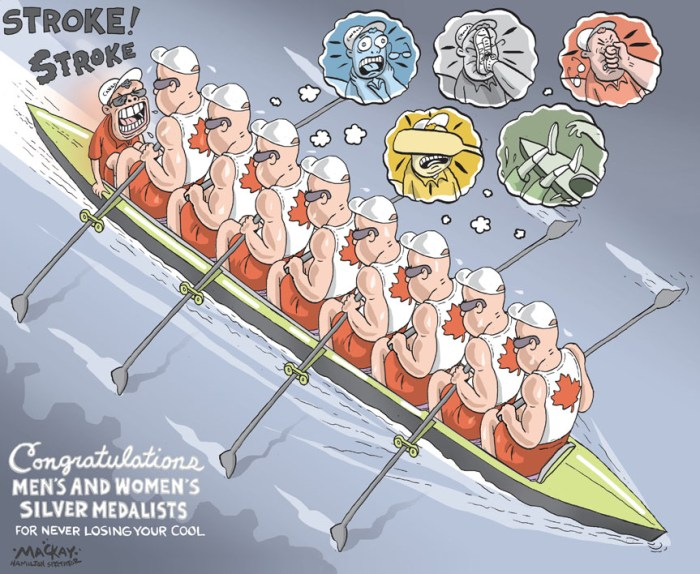 By Graeme MacKay, Editorial Cartoonist, The Hamilton Spectator - Friday August 3, 2012 Women claim CanadaÕs second Olympic silver in rowing The night before they went for gold, the Canadian womenÕs eight met and made a solemn pledge. Others might measure their success by a different standard. But as long as they maintained their trust in each other, as long as theyÊperformed as a team, and as long as they expended every last joule of energy in their beings, they would be satisfied with their race. On Thursday, they met every one of their goals. The silver medals that hung around their necks was just a happy by-product of all that. ÒI had so much trust in the work weÕve done,Ó said RichmondÕs Darcy Marquardt, one of the boatÕs leaders and a medalist, finally, in herÊthird Olympics. ÒWeÕve been so consistent day after day in training and racing this season. We laid it all on the line today and thatÕs anÊOlympic silver. We canÕt be upset with that.Ó Which was both an honest and realistic assessment of their race. As much as the Canadian crew did everything in their power at Lake Dorney, they ran into a monster boat in the gold-medal crew fromÊthe United States. The Americans, who were the defending Olympic champions, were last defeated in international competition in 2005Êand returned six of the nine crew members from Beijing. They also looked every inch the favourite at the Eton College rowing basin. In a wire-to-wire win, the Americans beat back an early challenge from the Dutch and a late challenge from the Canadians but neverÊseemed particularly concerned about either boat. The Canadians made a bit of a move over the final 500 metres but still finished almost aÊsecond and a half behind the Americans.Ê(Source: National Post) http://news.nationalpost.com/2012/08/02/canada-claims-another-olympic-silver-in-rowing-with-womens-eights/ International, London, UK, England, Olympic, rowing, rings, violence, women, medalists