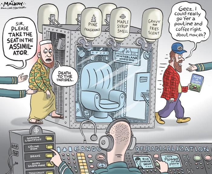 Editorial Cartoon by Graeme MacKay, The Hamilton Spectator Ð Friday August 19, 2016 Ottawa pledges deradicalization hire despite skepticism at anti-terror effectiveness Following the fatal police shooting of would-be suicide bomber Aaron Driver, CanadaÕs Public Safety Minister says the Liberals will Òup our gameÓ in the fight against terrorism by imminently hiring a deradicalization adviser. ÒWhat the incident in Strathroy demonstrates is that this is important,Ó Ralph Goodale told reporters on Wednesday. He said the new adviser will be hired within weeks and could succeed in counter-terrorism challenges where police and intelligence services are falling short. Mr. Driver, 24, from Strathroy, Ont., was killed last week. Federal authorities had red-flagged him as an aspiring terrorist, but nothing could make him reconsider his sworn allegiance to the Islamic State. Despite a degree of monitoring, he had managed to put together an improvised bomb and a video in which he promised to shed Canadian blood for the terror group. The creation of a deradicalization adviser, who will run a $10-million-a-year office, fulfills a 2015 campaign promise by the Liberals. At the time, the party criticized the then-Conservative government for its law-and-order approach to fighting terrorism. Details are under wraps, but observers are keen to see how the approach will take shape, especially since the global track record of such initiatives is mixed. ÒThere are all kinds of these programs all over the world. EveryoneÕs got one,Ó said Phil Gurski, a former analyst at the Canadian Security Intelligence Service. And yet, he added, no one has really figured out the best approach. CSIS recently canvassed outside experts for feedback on which governmentsÕ deradicalization Ð or Òcountering violent extremismÓ (CVE) Ð programs are working best. Many replied that none are known to be working particularly well. ÒSome expressed skepticism as to the relevance of CVE initiatives, highlighting