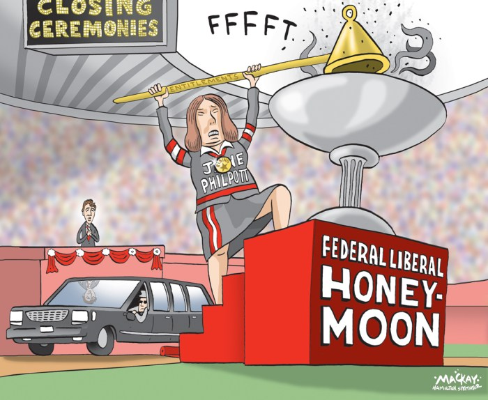 "Editorial Cartoon by Graeme MacKay, The Hamilton Spectator Ð Saturday August 20, 2016 Health Minister Jane Philpott accused of misleading Parliament on limo tab Health Minister Jane Philpott is facing accusations that she misled the House of Commons by failing to disclose controversial limousine travel she charged to taxpayers earlier this year. In a response to a question placed on the order paper by Conservative MP Dan Albas about the use of limousines, Philpott's department supplied an answer, signed by the minister, categorically denying any of the luxury vehicles were rented. ""With regard to government travel, for the period of Nov. 3, 2015, to April 22, 2016, the minister of health did not use rented limousines while on official business, within Canada or elsewhere,"" the department wrote in its answer tabled in the House of Commons in June. However, Philpott has found herself in the opposition crosshairs this week after it was revealed that she charged taxpayers $1,700 for transportation around the Greater Toronto Area on March 31, using a limousine service owned by someone who campaigned for her in the federal election. The travel, to four events ranging from Hamilton to Markham and Toronto, took place during the time frame covered by the order paper question. Philpott's office has so far failed to provide any explanation for the discrepancy between her response tabled in the House of Commons and her expense accounts. In an e-mail late to CBC News late Thursday night, her office said ""the minister did not, and has not used a limousine.Ó However, spokesman Andrew MacKendrick did not respond to e-mails and phone calls from CBC News to explain what kind of vehicle the limousine service provided. (Source: CBC News) http://www.cbc.ca/news/politics/jane-philpott-limousine-government-spending-parliament-1.3727430 Canada, entitlements, expense, scandal, Jane Philpott, honeymoon, Liberal, Justin Trudeau, ceremony, Olympic"