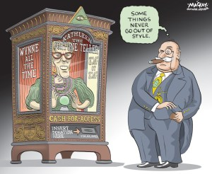 Editorial Cartoon by Graeme MacKay, The Hamilton Spectator Ð Friday August 26, 2016 Ontario Liberals wonÕt ban cash-for-access events OntarioÕs Liberal government has bowed to public and opposition pressure to tighten caps further on political donations, but is still not banning cash-for-access fundraising. Government House Leader Yasir Naqvi on Monday released proposed amendments to Bill 201, the LiberalsÕ campaign-finance reform legislation. TheÊbill is under review by a legislative committee, which has been holding public hearings for the past two months. The changes include a $3,600 limit per donor Ð divided among the central party office, riding associations and individual candidates Ð in a year withÊan election or by-election, or $2,400 in a year without either. Currently, donors can contribute up to $33,250 annually; the original text of the billÊwould have brought that down to $7,750 in a year with an election or by-election. But the Liberals opted not to make cash-for-access illegal, allowing the controversial fundraising practice that started the furor over campaign financeÊto continue. Instead of a legislated ban, Mr. NaqviÕs office said he will consult the opposition parties on a code of conduct for MPPs that would offerÊguidelines for raising money from stakeholders. The government turned down an interview request for Mr. Naqvi. His spokesman, Kyle Richardson, refused to answer questions directly on why theÊLiberals are not prohibiting cash-for-access. ÒGovernment amendments are based on the feedback heard at public hearings held across Ontario. We are committed to working with theÊopposition,Ó Mr. Richardson wrote in an e-mail. Under the cash-for-access system, revealed by The Globe and Mail this spring, corporations, unions and wealthy individuals paid up to $10,000 forÊaccess to Premier Kathleen Wynne and members of her cabinet, typically over cocktails and dinner. At most events, corporate and union leaders in aÊgiven sector Ð including const