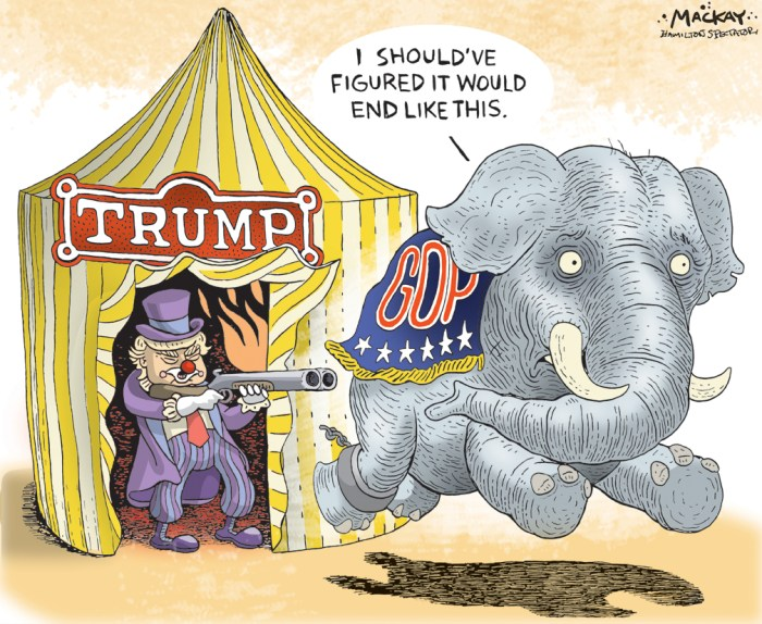 "Editorial Cartoon by Graeme MacKay, The Hamilton Spectator Ð Wednesday October 12, 2016 Wednesday August 12, 2016 The GOP civil war is finally here. And Trump is winning With the release of the 2005 ""Access of Hollywood"" tapeÊand Donald Trump's subsequent drop in the polls, many already reluctant Republicans are now running for cover from him and his campaign. House Speaker Paul RyanÊand Senator John McCainÊare the most prominent among them, and Trump has responded by calling them out individually on his Twitter feed. The GOP civil warÊso close to erupting so many times during the course of the Trump campaign is finally here. All because of a new drop in the polls that may or may not last very long. There may be no winners in the end of this intramural battle, but the only one who can win is Trump. And that's why Trump should not just continue to play up this growing rift with the establishment, he should play it up as much as possible. Think about it: If Trump loses the election, Republican leaders hoping to avoid the worst effects of being associated with his controversial persona won't be spared much. The Trump supporters will never forgive them and the news media and the Left will never given them any credit for ""doing the right thing"" anyway. It's a form of Stockholm syndrome to not only start to like your captors, but look for reasons to blame the captivity on your fellow hostages. This is a no-win scenario if there ever was one for the GOP establishment powers. Democracy can be ugly. And what Republicans like McCain and Ryan have had so much trouble accepting is that the voters in the primaries flocked to Trump. It doesn't matter if Trump deserved it or not. It doesn't matter if he had the best chances to win the general election. If a political party works to undermine what its voters want, it is dead. Trump's campaign is thus still alive while we watch the GOP commit a form of suicide as it fears national polls and the news media more than its own vo"