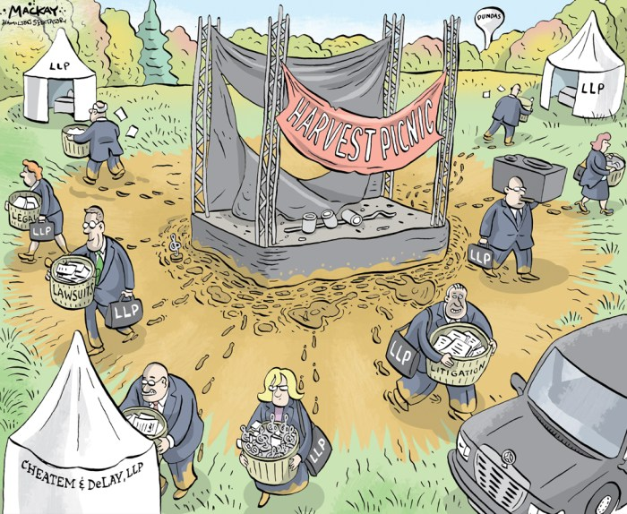 "Editorial Cartoon by Graeme MacKay, The Hamilton Spectator Ð Friday October 14, 2016 Harvest Picnic organizer sues talent agency, performers, for millions The organizer of the annual Harvest Picnic music festival has filed a lawsuit against one of Canada's largest talent agencies, as well as musical acts Jann Arden, Johnny Reid and the Cowboy Junkies, seeking more than $26 million in damages due to breach of contract. The lawsuit also says both the Harvest Picnic and the annual Hamilton Music Awards are in danger of collapsing. Local promoter Jean Paul Gauthier alleges The Feldman Agency, based in Toronto and Vancouver, Reid and the Cowboy Junkies both breached contract provisions preventing them from playing within a certain radius of Hamilton within 90 days of the Aug. 26 to 28 Harvest Picnic at Christie Lake Conservation Area. His claims against Arden relate to concert date announcements. Feldman acted as the booking agency for those festival acts. The allegations, which have not been tested in court, were made in a 15-page statement of claim filed in Ontario Superior Court under Gauthier's company, September Seventh Entertainment, which also runs the annual Hamilton Music Awards. ""The events that September Seventh produces and owns, namely the Harvest Picnic and Hamilton Music Awards, are now at great risk of ceasing to exist due to the unconscionable conduct, high-handed conduct or conduct in bad faith and breaches of contract by the defendants,"" the statement of claim says. This year the Harvest Picnic expanded from one to three days. Crowds were noticeably lower than the previous five years. Meanwhile, several artists, many of them local, have said they have not been paid by Gauthier. ""I got a bounced cheque,"" said Hamilton singer-songwriter Tomi Swick, who performed twice at the festival. ""It's a sad situation. (Gauthier) has always been pretty good to me. It was a good festival.Ó Other musicians who have not yet been paid by the festival include"