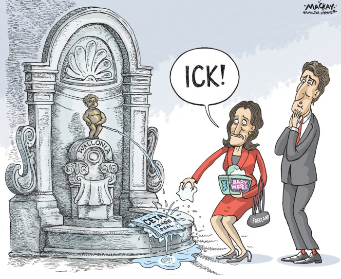Editorial Cartoon by Graeme MacKay, The Hamilton Spectator Ð Thursday October 20, 2016 Trade minister Freeland meets with Wallonia leader in effort to save CETA deal Federal Trade Minister Chrystia Freeland met Wednesday with the head of Wallonia in an effort to save a trade deal with the European Union that could collapse if the small Belgium region does not support it by Friday. A spokeswoman for Freeland says she met with Wallonia President Paul Magnette, who earlier Wednesday said his region could not sign on to the deal by Friday, which has been set as a deadline to get the last of the 28 EU nations on board. Anne-Louise Chauvette says the Comprehensive Economic and Trade Agreement, also known as CETA, is a priority for the federal government and it is working hard with its European partners so that it can be approved and implemented next year. The Wallonia vote has created headaches for Belgium's national government because its constitution gives its three regional governments Ñ Wallonia being one of them Ñ a potential veto over CETA, which has been seven years in the making. Prime Minister Justin Trudeau is scheduled to fly to Brussels next week to sign the agreement should it be unanimously approved by the EU. (Source: CBC) http://www.cbc.ca/news/politics/ceta-wallonia-save-trade-deal-1.3812570 Canada, Belgium, Wallonia, Walloon, EU, trade, deal, CETA, Justin Trudeau, Chrystia Freeland,Êmanneken pis