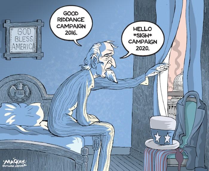 Editorial Cartoon by Graeme MacKay, The Hamilton Spectator Ð Wednesday November 9, 2016