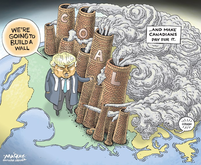 Editorial Cartoon by Graeme MacKay, The Hamilton Spectator Ð Wednesday November 23, 2016 Continental contrast with Coal Canada plans to phase out most coal-powered electricity plants by 2030, Environment Minister Catherine McKenna announced Monday. By speeding up the timeline for closing coal-fired plants, which spew more pollution than most other fossil fuels, the country expects to reduce its carbon emissions by 5 megatons, or the equivalent taking of 1.3 million cars off the road. Coal makes up nearly three-quarters of the Canadian electrical industryÕs greenhouse gas emissions, and over 8 percent of the countryÕs total carbon footprint. Roughly 80 percent of CanadaÕs electricity currently comes from zero-emission sources, McKenna said. Under the new regulations, that number should increase to 90 percent over the next 14 years. Other countries, including Austria, Denmark, France, the Netherlands and the United Kingdom, have also accelerated their plans to wean themselves off coal, according to The Wall Street Journal. But the move comes as the U.S., CanadaÕs largest trading partner, seems set to scale back environmental regulations and bolster the coal industry once President-elect Donald Trump office next year. Trump campaigned hard in coal country, promising to put miners back to work by slashing pollution restrictions and scrapping President Barack ObamaÕs Clean Power Plan, which would have forced the utility sector to use more renewable energy. Most of the coal industryÕs biggest players have gone bankrupt over the last two years, in large part because of ill-conceived betsÊon the future of Chinese economic growth. Even coal barons who backed Trump admit the coal industry isnÕt coming back. (Source: Newsweek) http://www.newsweek.com/donald-trump-canada-coal-524098 Canada, USA, coal, pollution, climate change, air quality, environment, energy, wall, health, Donald Trump