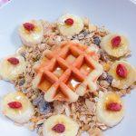 バナナとワッフルでフラワーみたいな朝ごはん【朝食アート】~インスタ映え~スイーツ~