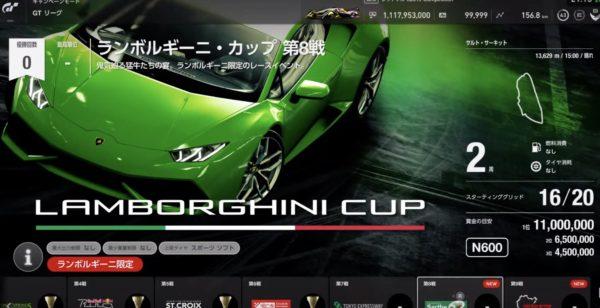 GTsport 攻略 2020年2月 アップデート「ランボルギーニ・カップ」第8戦、第9戦