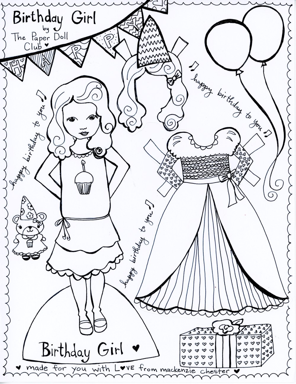 Birthday Girl Free Printable Paper Doll