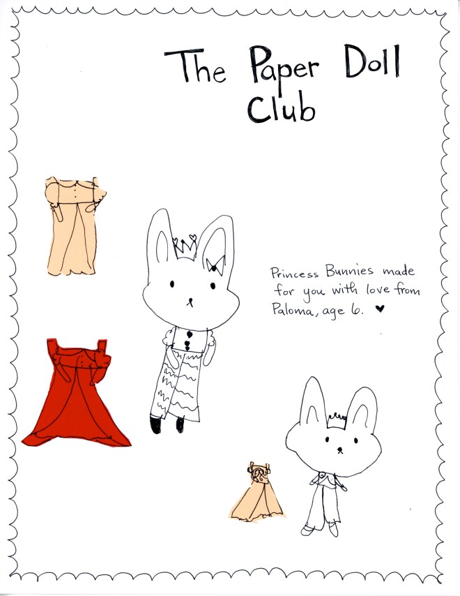 Princess Bunny Paper Dolls by Paloma for the Paper Doll Club