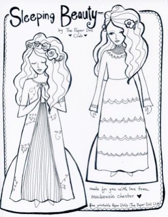 Sleeping Beauty Paper Doll, made by Mackenzie Chester for The Paper Doll Club