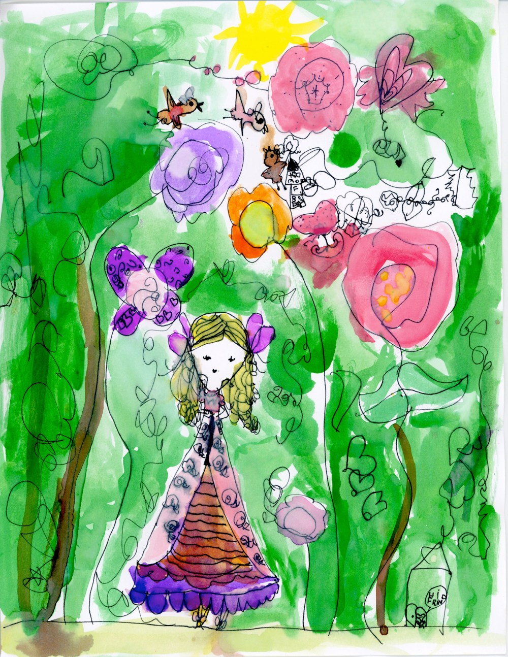 Colorful Girl in Forest by Paloma, age 6