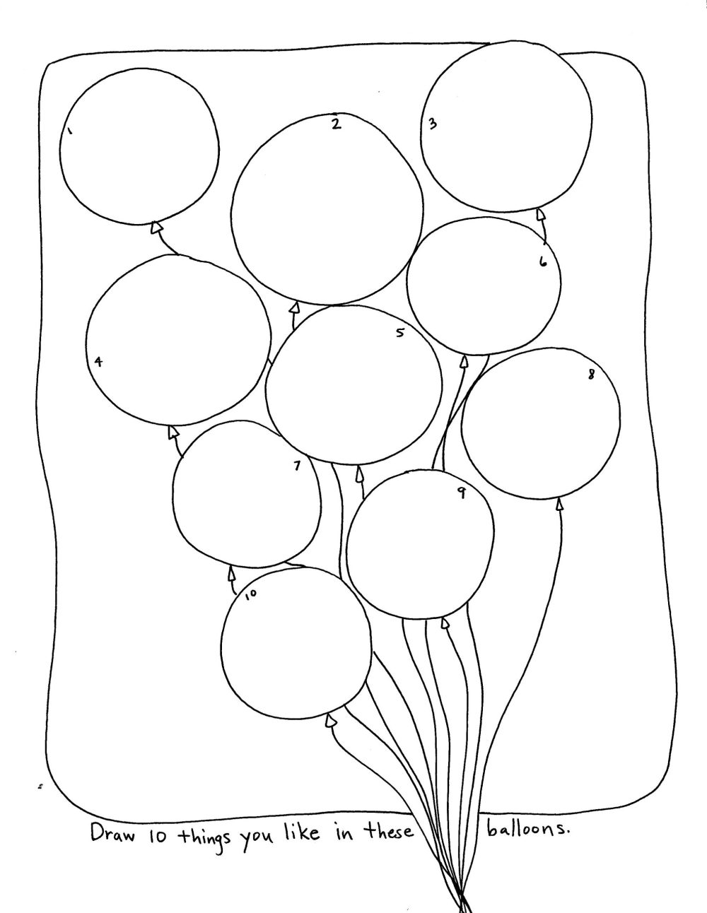 Draw 10 things you like in these balloons