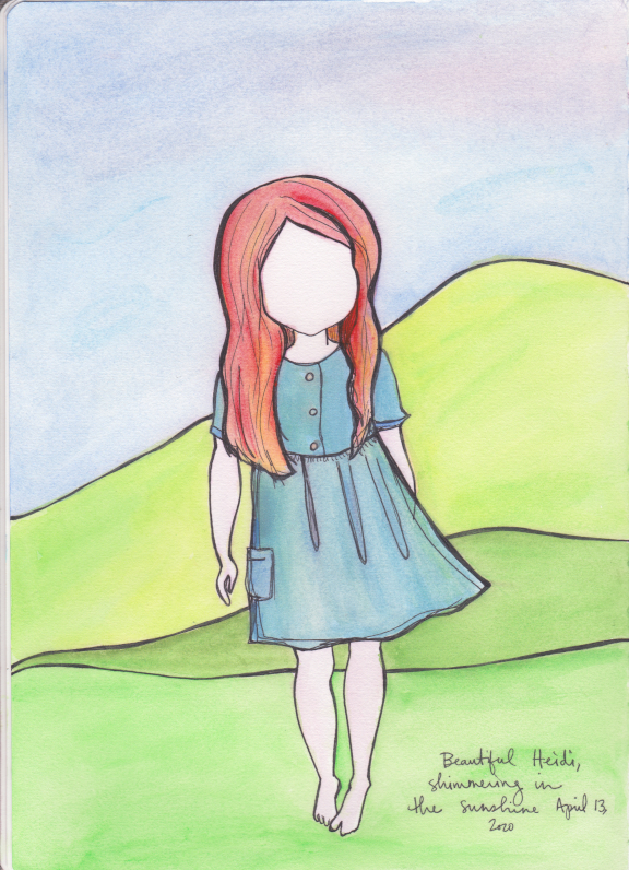 Mackenzie Chester artwork, Heidi in the sun, watercolor pen drawing, journal entry, journaling
