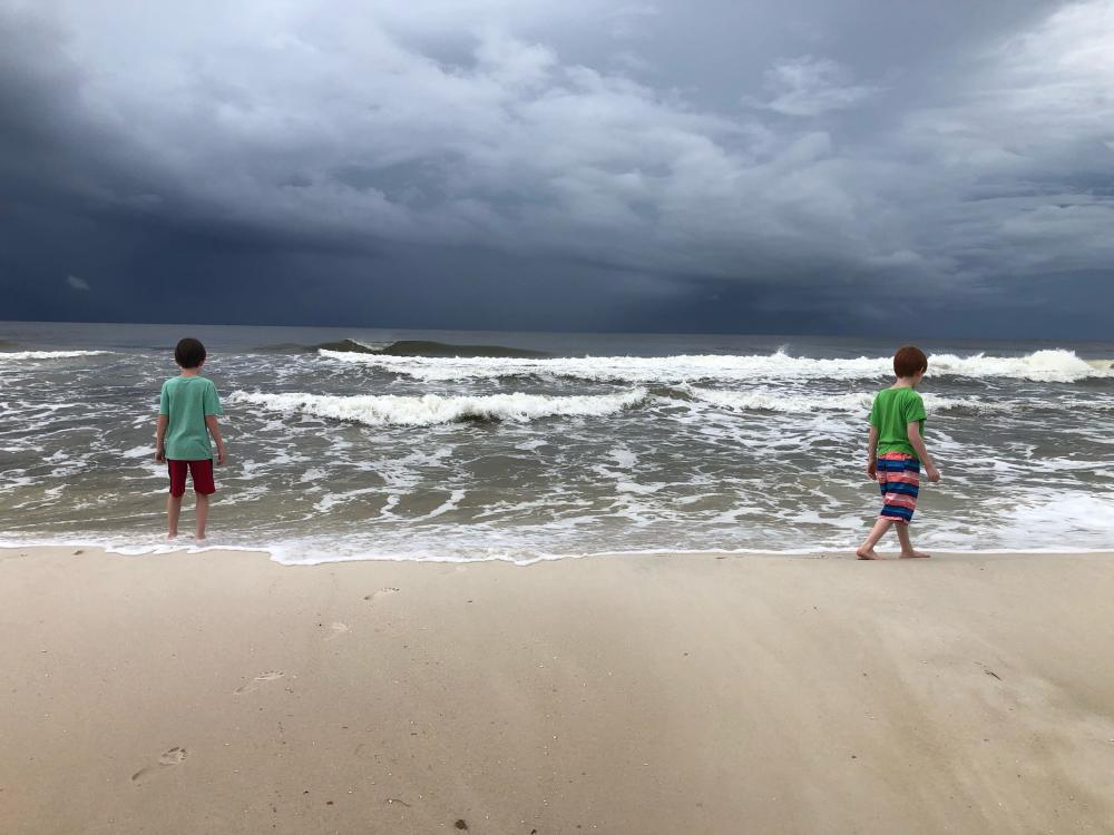 boys at the ocean, shore, storm on the horizon, mackenzie chester, the sacred everyday