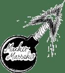 Schwarze Bombe mit angezündeter Zündschnur - Aufschrift in Schreibschrift: Macker Massaker