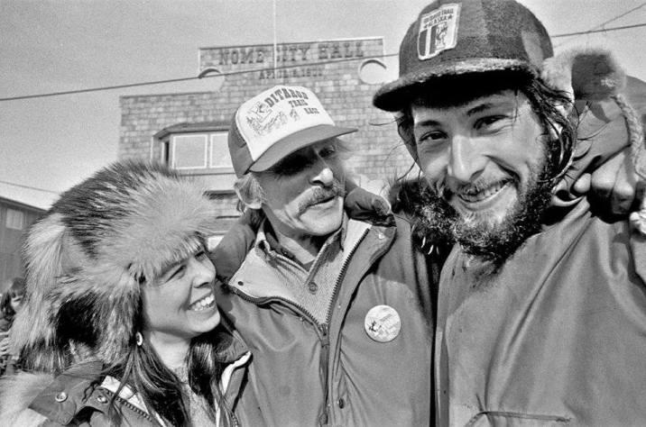 Mom, Grandpa, and dad after dad's Iditarod win