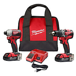 M18 18V Li-Ion Brushless Cordless Compact Hammer Drill/Impact Combo Kit (2-Tool) W/ (2) 2.0Ah Batteries