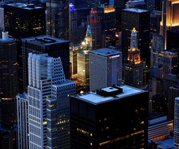 Chicago,-United-States-At-Night-