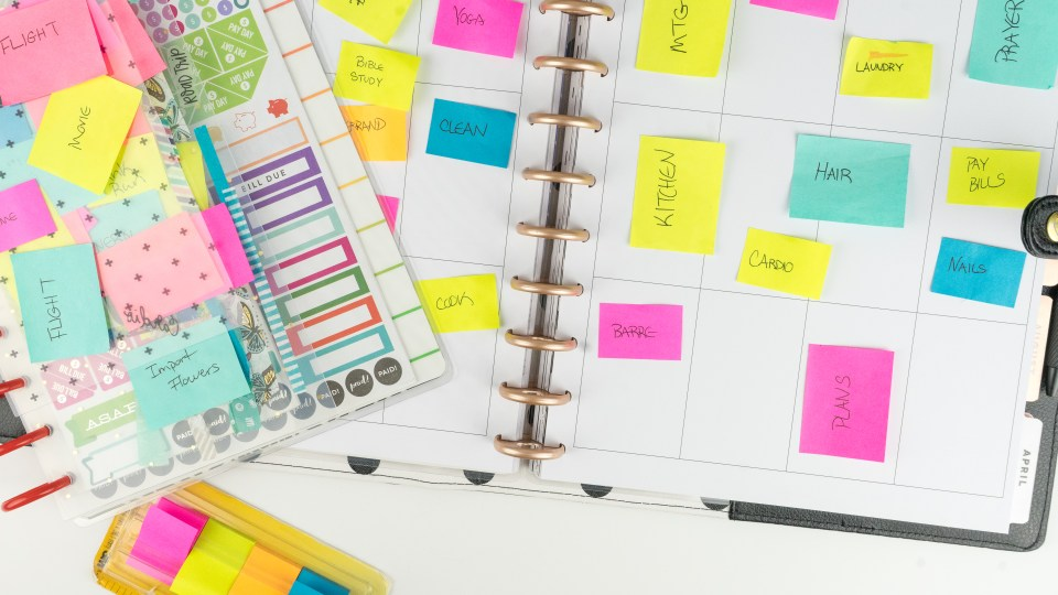 Sticky notes in planner