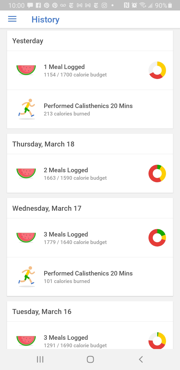 Noom meal history